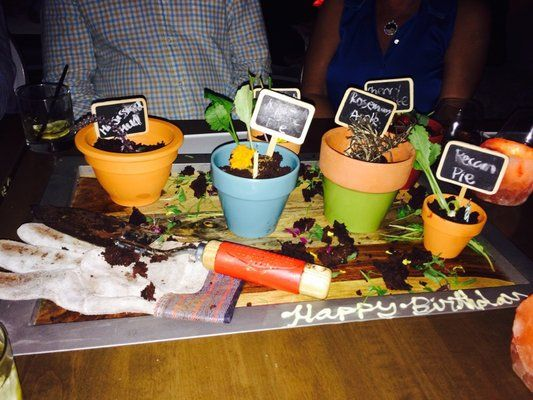 photos for barton g the restaurant los angeles dessert served in flower pots