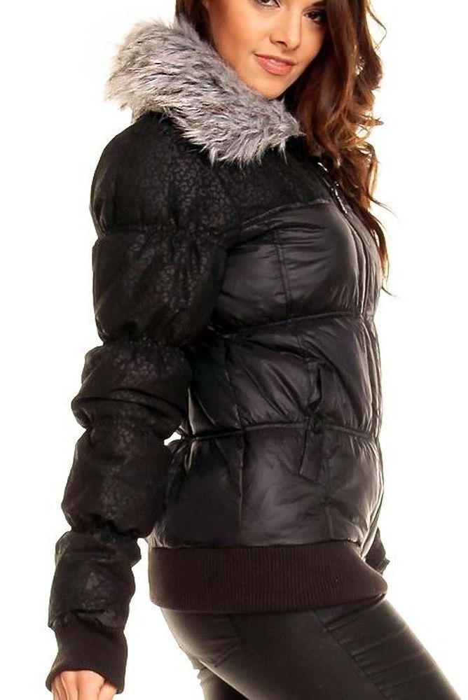 Jacke Steppjacke schwarz Winterjacke Damen Kunst Fellkragen nPNwX8Z0Ok