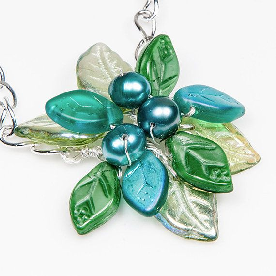 Teal Green Flower Necklace, Beaded Necklace, Bridal Jewelry, Nature Jewelry pendant style on Etsy, $46.95