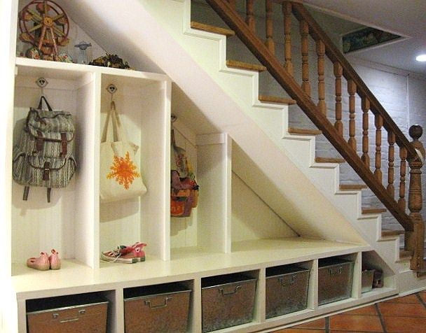 The Storage Space Does Not Have To Be In Your Entry I Had Lockers Built Under Our Basement Stairs The Room Under Stairs Staircase Storage Stairway Storage