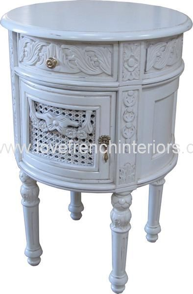French Round Bedside In Antique White