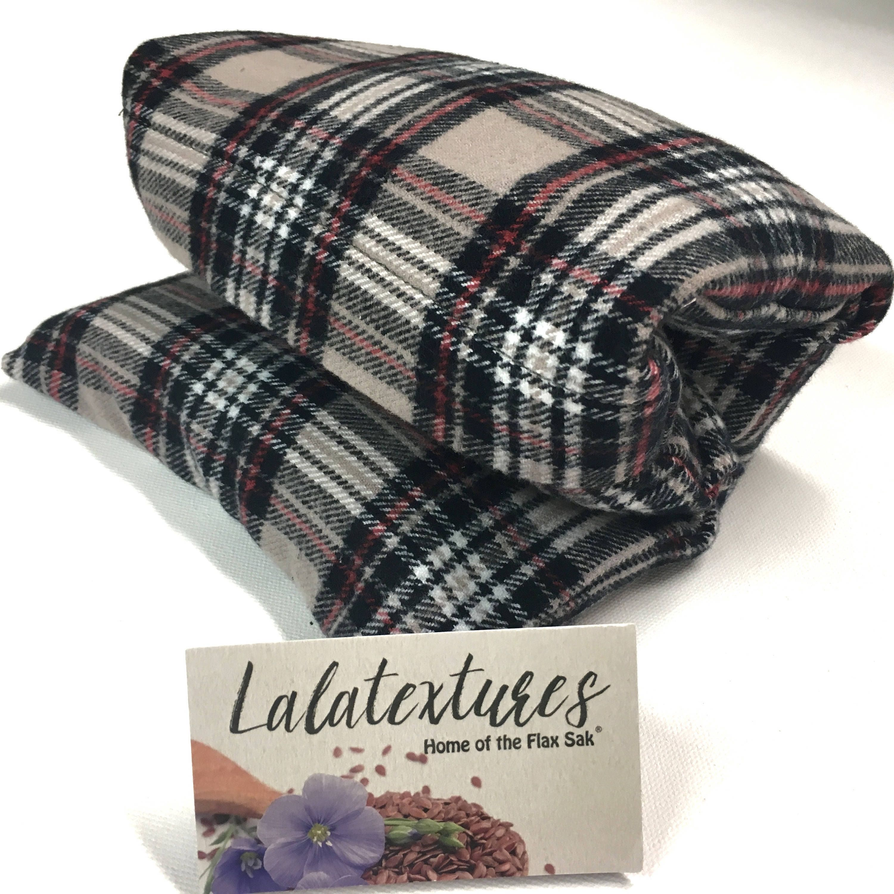 Purple Plaid by Flax Sak Unscented Large Microwave Heating Pad or Cold Pack with Washable Cover