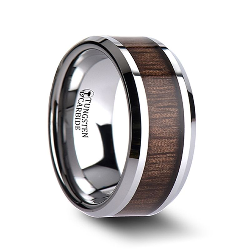 HALIFAX Tungsten Wedding Band with Bevels and Black Walnut Wood