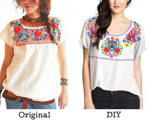 Get inspired by the gorgeous stitches of Mexican embroidered blouses, and  then see how to