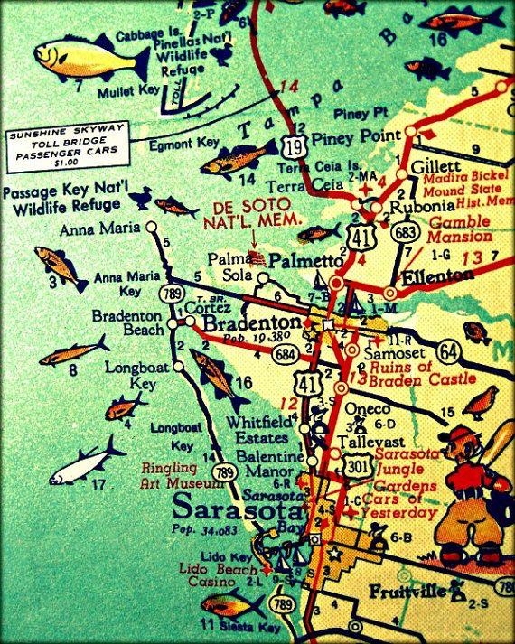 Bradenton Florida Map.Anna Maria Island Map Travel Gift Florida Map Art Anna Maria Map