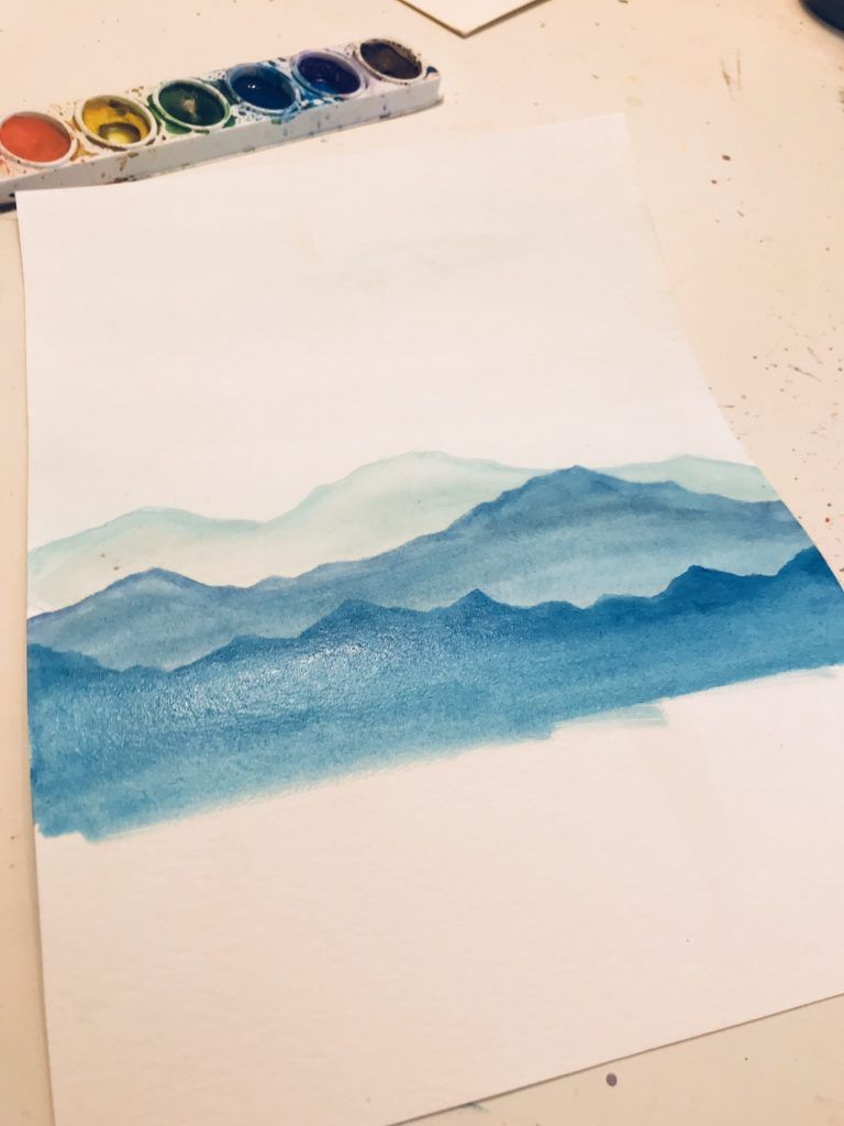 Easy Watercolor Mountain Scene Sweet Home Adventures Easy