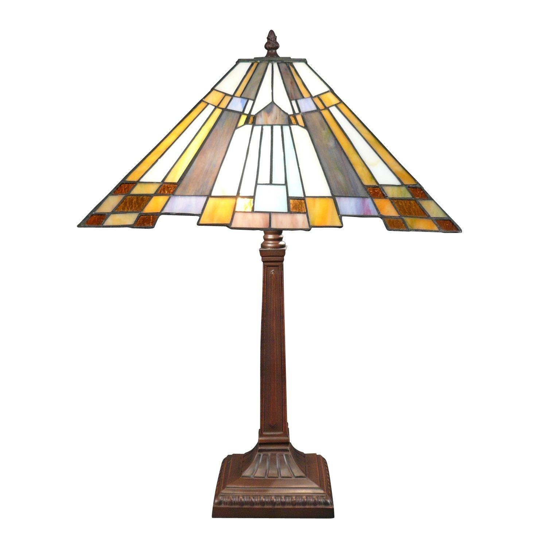 New York Blue Art Deco Tiffany Lampe Mit Fuss Aus Patiniertem Bronze Metall Tiffany Lampen Lampen Lampen Gunstig
