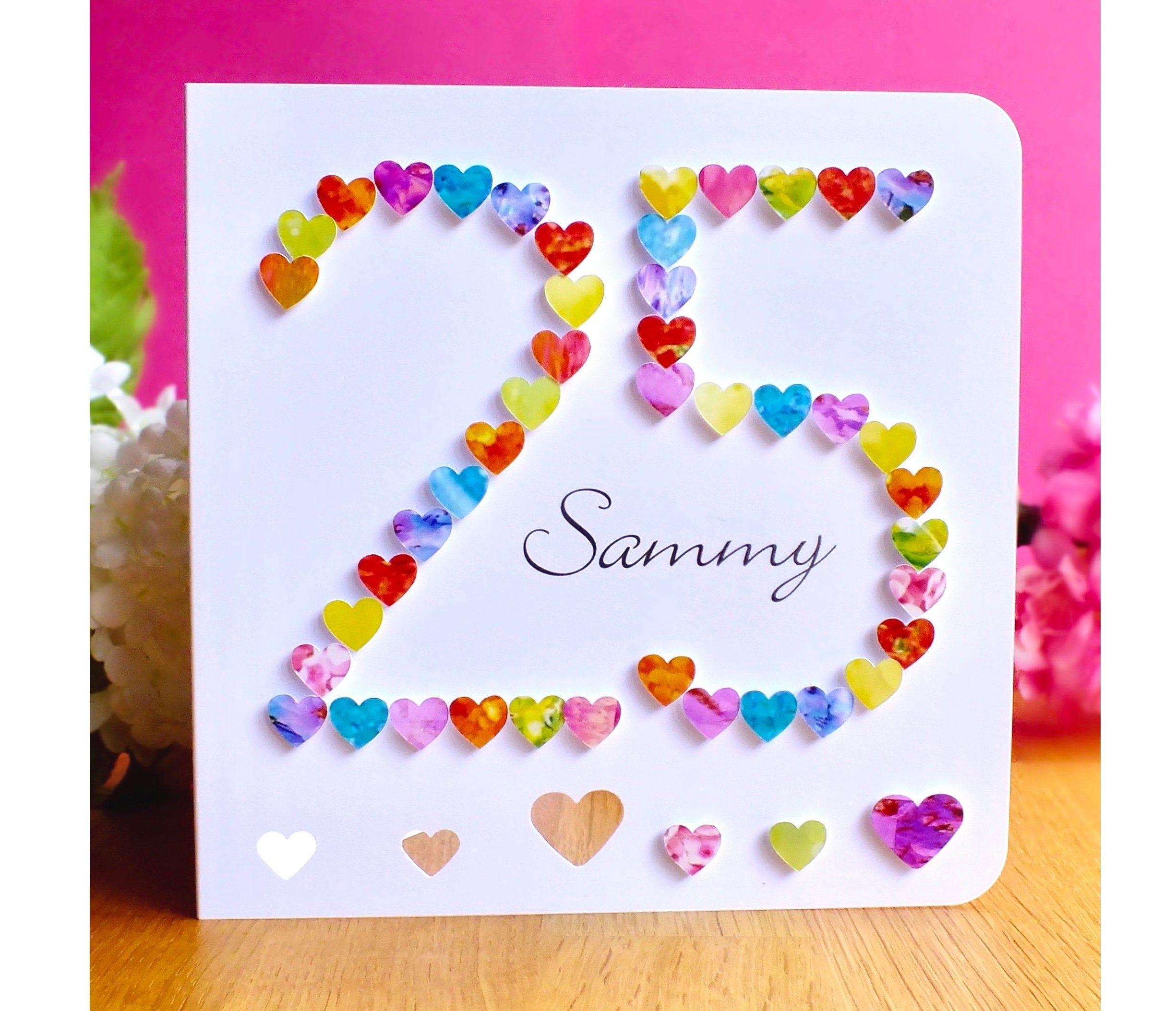 25th Birthday Card Handmade Personalised Age 25 Birthday Etsy Handmade Birthday Cards Birthday Cards 25th Birthday