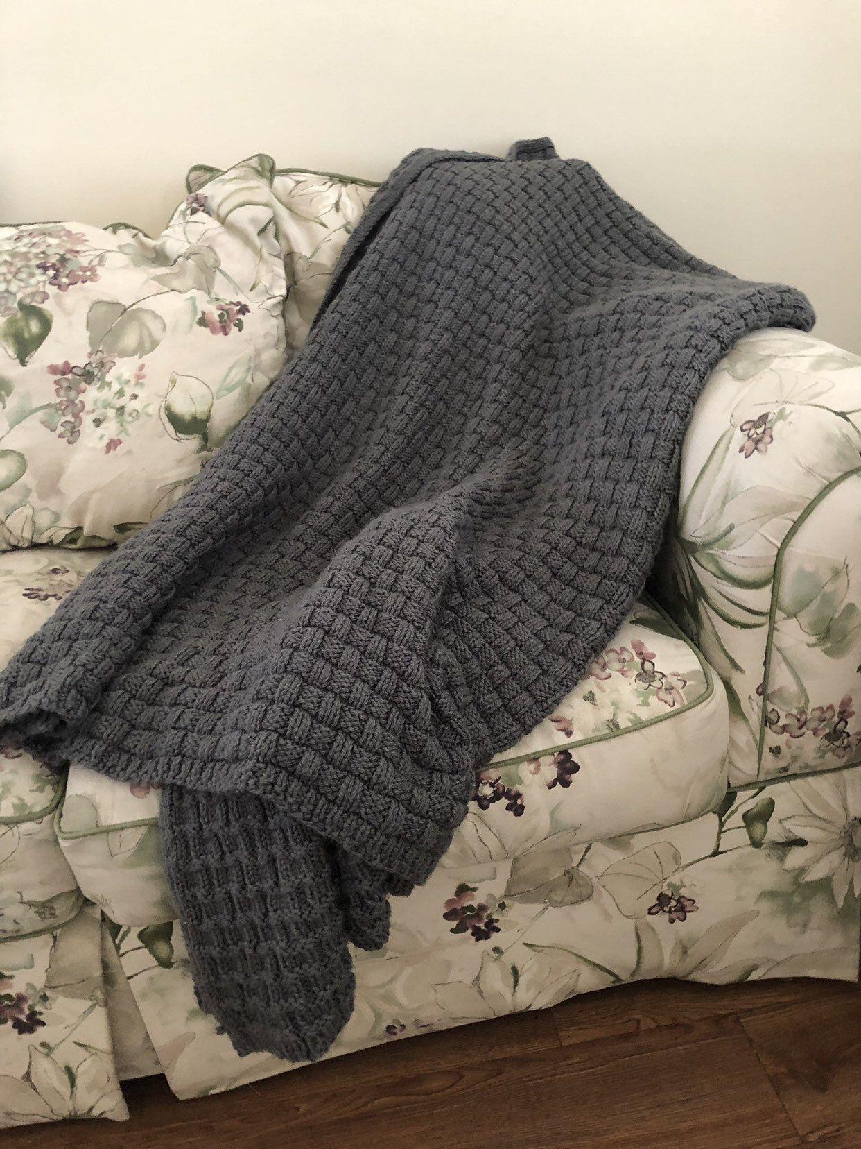 Knitted basketweave afghan/throw blanket | Afghan throw ...