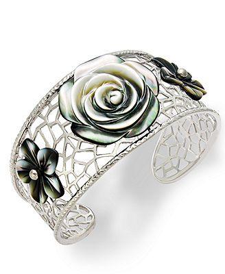 Sterling Silver Bracelet, Cultured Tahitian Mother of Pearl Flower Bangle /575