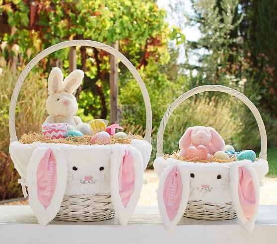 Pink bunny easter basket liners pottery barn kids easter easter negle Image collections