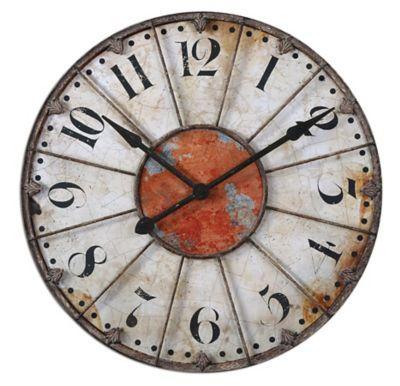 Uttermost 6664 Ellsworth 29 Wall Clock IvoryRust RedRustic Bronze