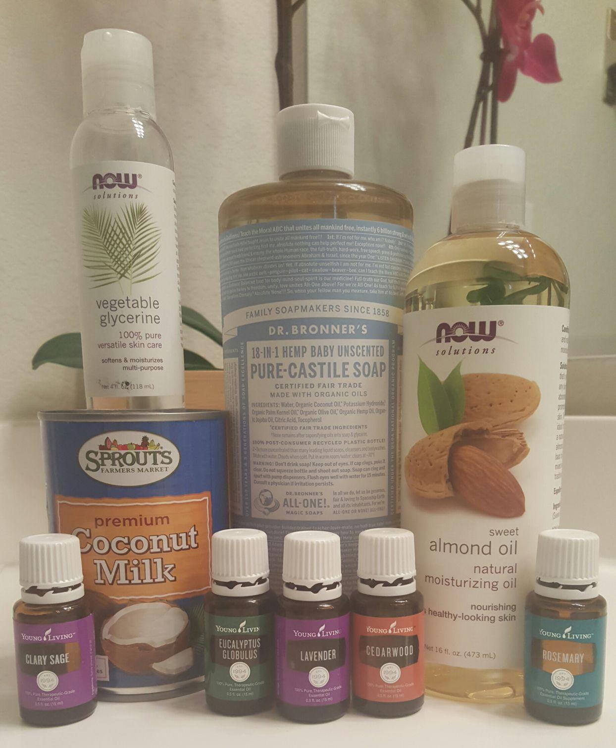 DIY coconut milk shampoo with essential oils! diy yleo