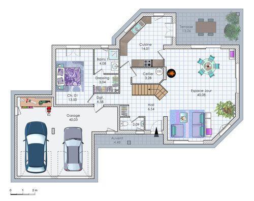 Plan habillé - maison - Maison familiale aux espaces généreux - plan maison plain pied 200m2
