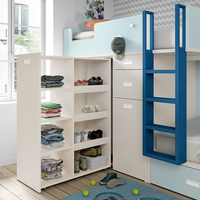 Armario extraible cama tren dormitorio ni as camas - Habitaciones infantiles tren ...