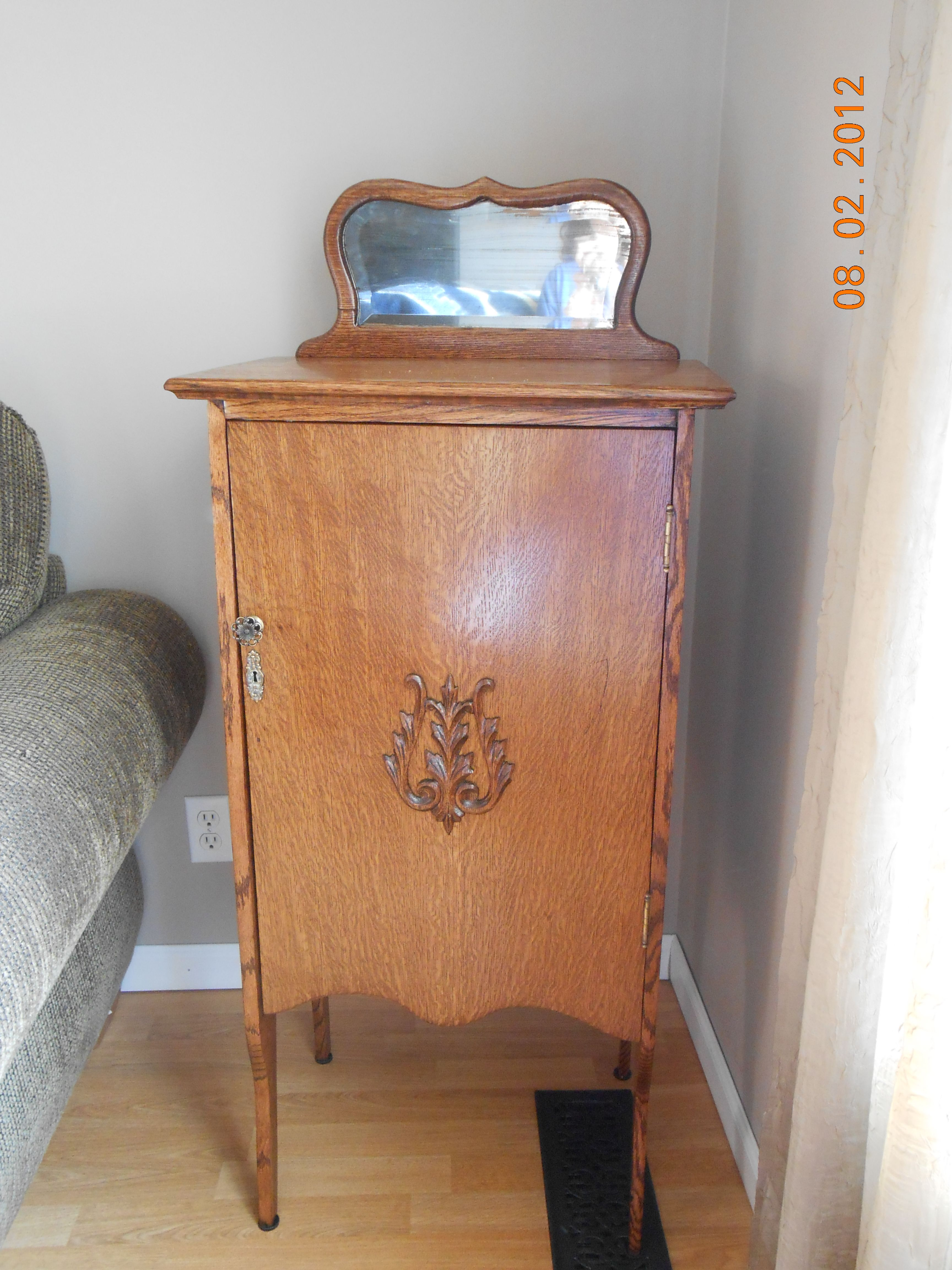 This is an antique quarter sawn oak music cabinet I found very cheap ...