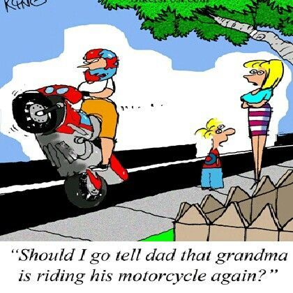 GRANDMA Riding Wheelies, sportbikes, biker for life