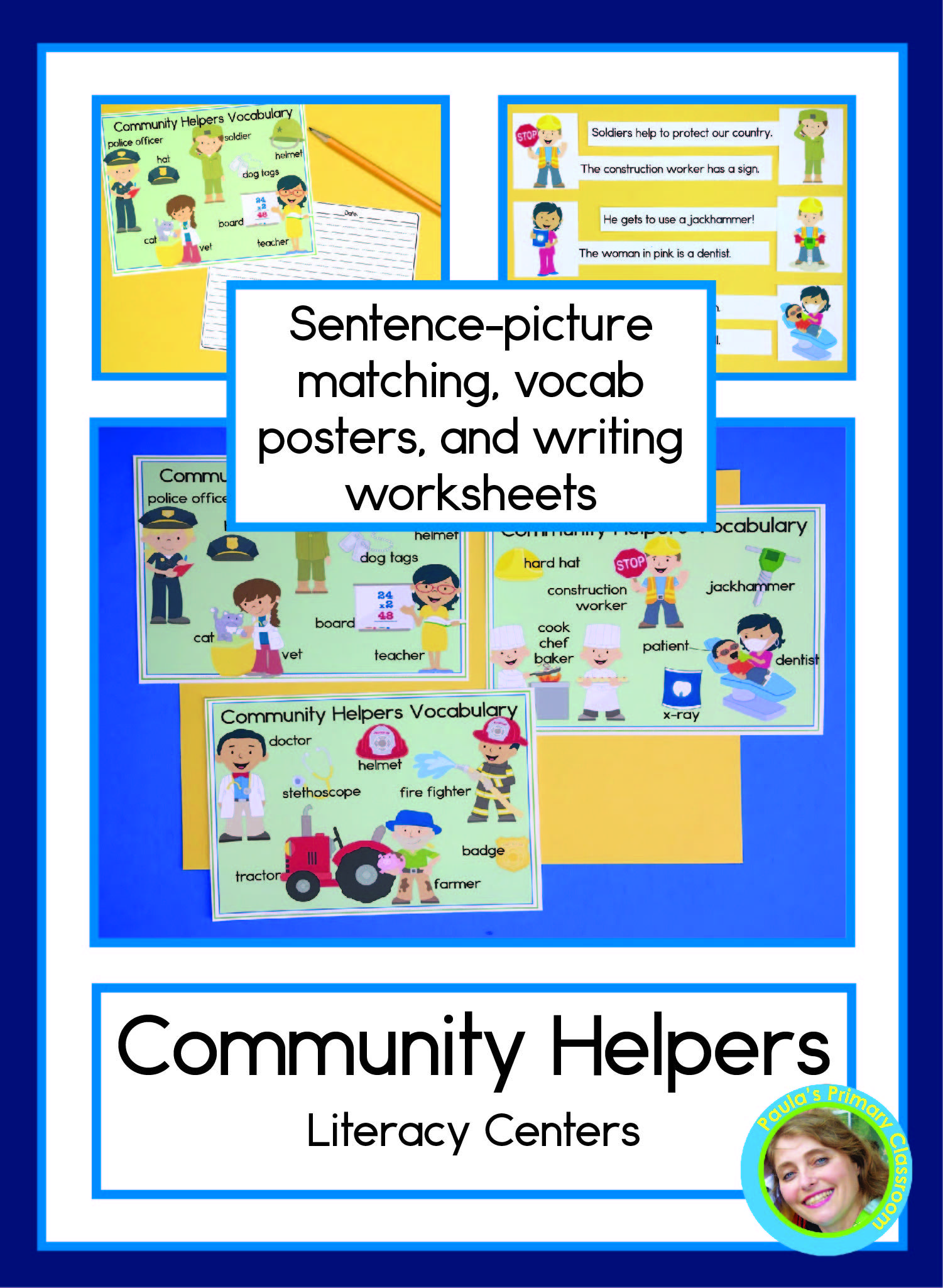 Community Helpers Sentence Picture Match Reading Center In