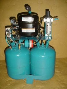 DIY silent air compressor constructed from a pair of freon tanks, a