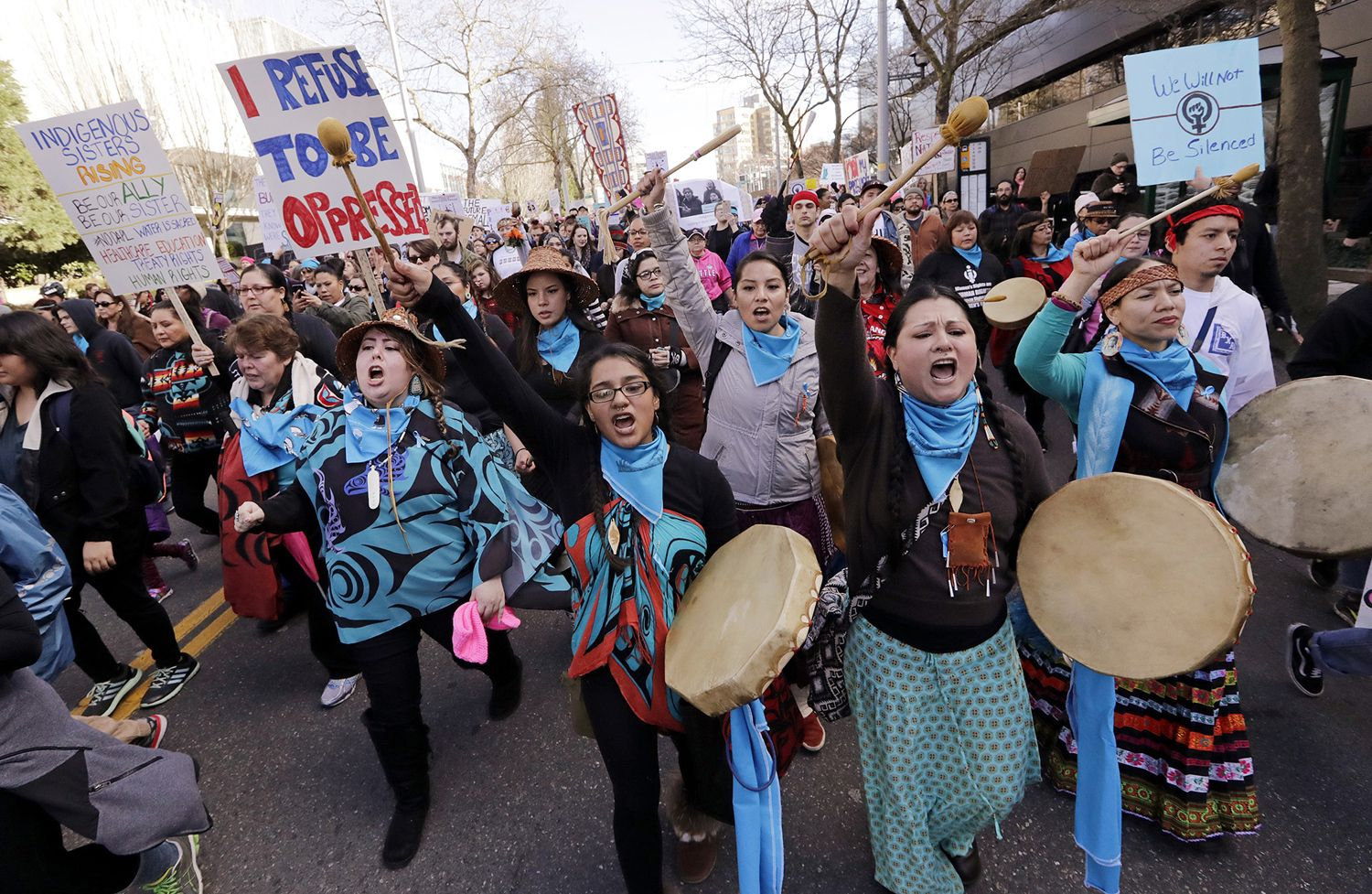 In Seattle, Washington, native American women singers and drummers lead a women's march of thousands as it arrives at the Seattle Center, on January 21, 2017. Women across the Pacific Northwest marched in solidarity with the Women's March on Washington and to send a message in support of women's rights and other causes | The Atlantic.