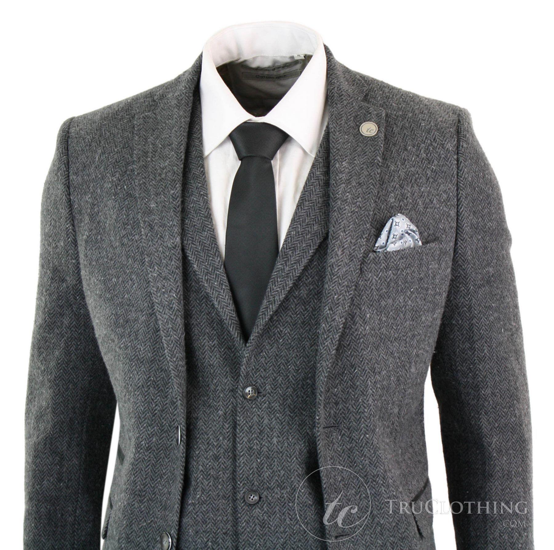 Mens 3 Piece Suit Herringbone Tan Tweed Check on Olive Green Retro Peaky Blinders