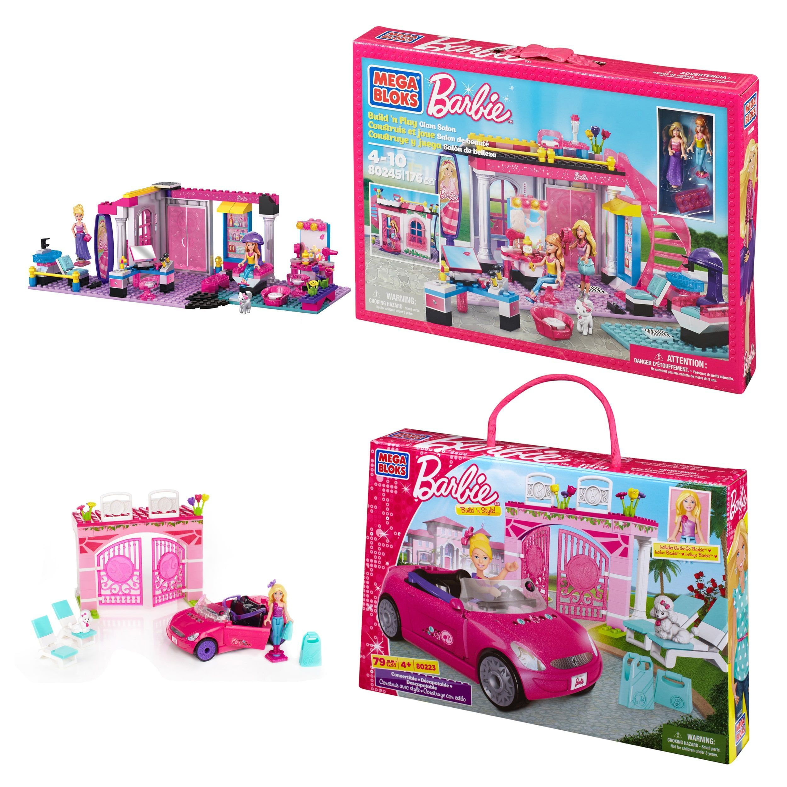 Juego Barbie Salon De Belleza Mega Bloks Barbie Salon And Convertible Playset Combo Products