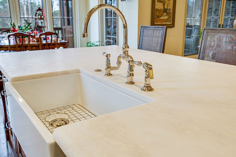 Nice Mystery White Honed Marble Kitchen Countertop With A Half Bullnose Edge