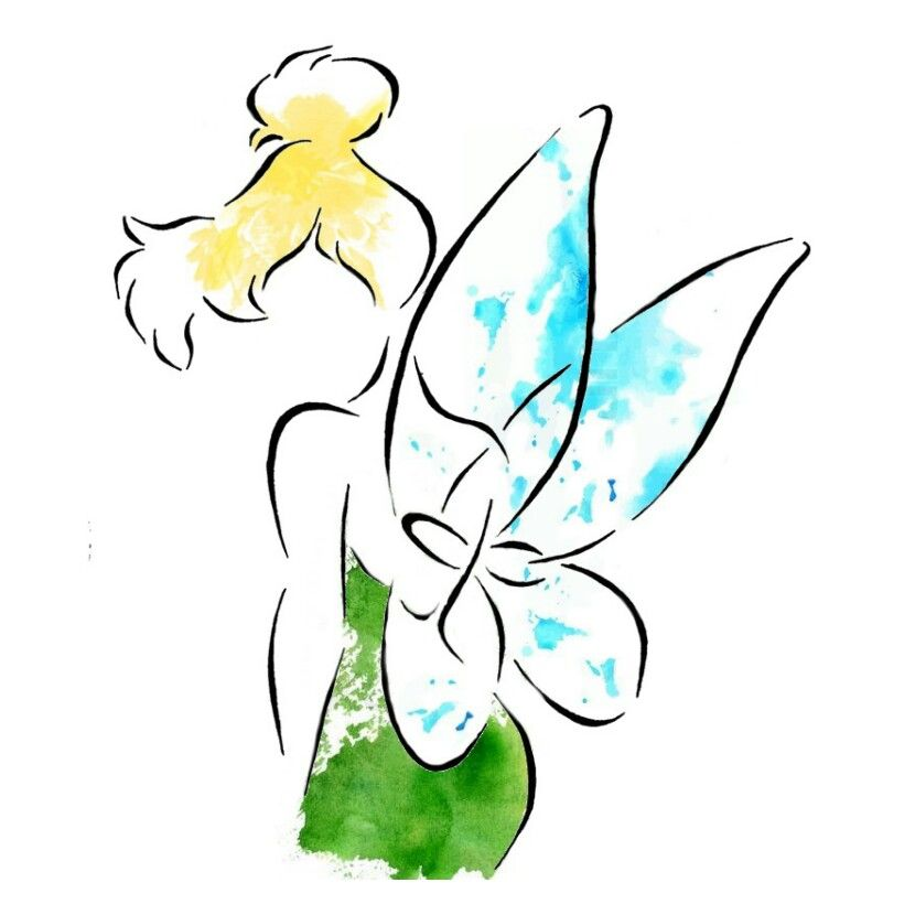 Water Color Tinkerbell Tattoo I Took The Black Stencil And Added