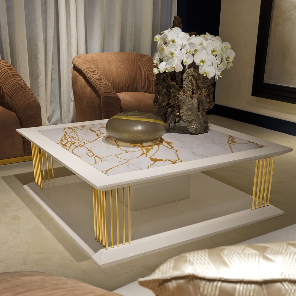 Modern Marble Gold Square Coffee Table Square coffee tables