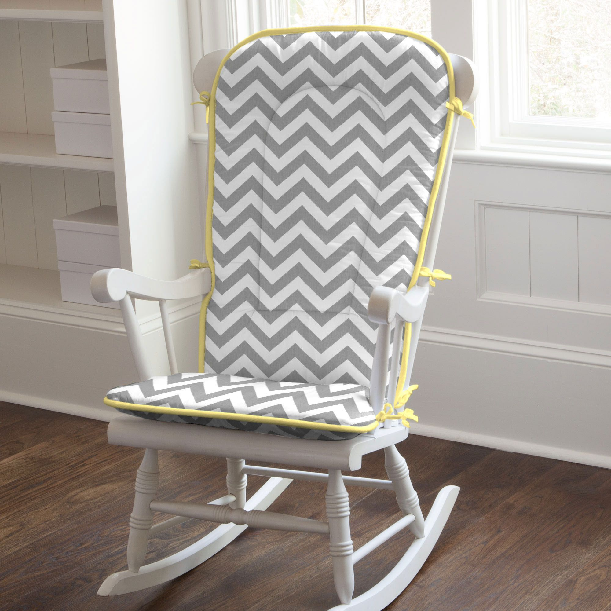 Gray And Yellow Zig Zag Rocking Chair Pad Rocking Chair