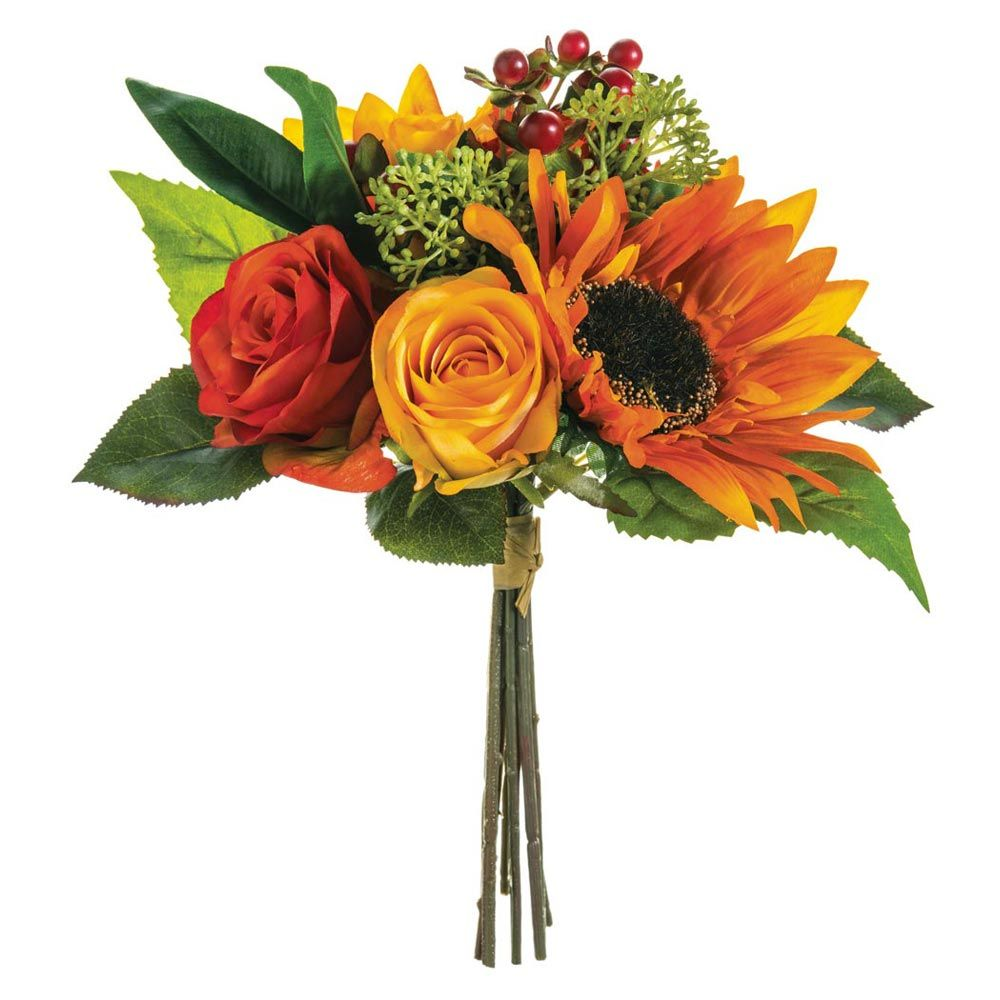 Beautiful silk bouquet of sunflowers and roses in colorful oranges beautiful silk bouquet of sunflowers and roses in colorful oranges and rusts accented with faux izmirmasajfo Images