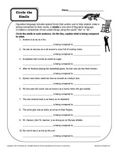 Worksheet - Circle the Simile | Simile, Worksheets and Figurative ...