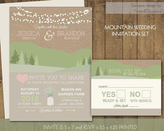 mountain wedding invitations rustic wedding invites with