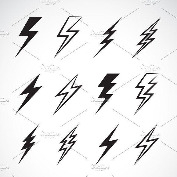 Vector of thunder lightning flat. by yod67 on Creative Market