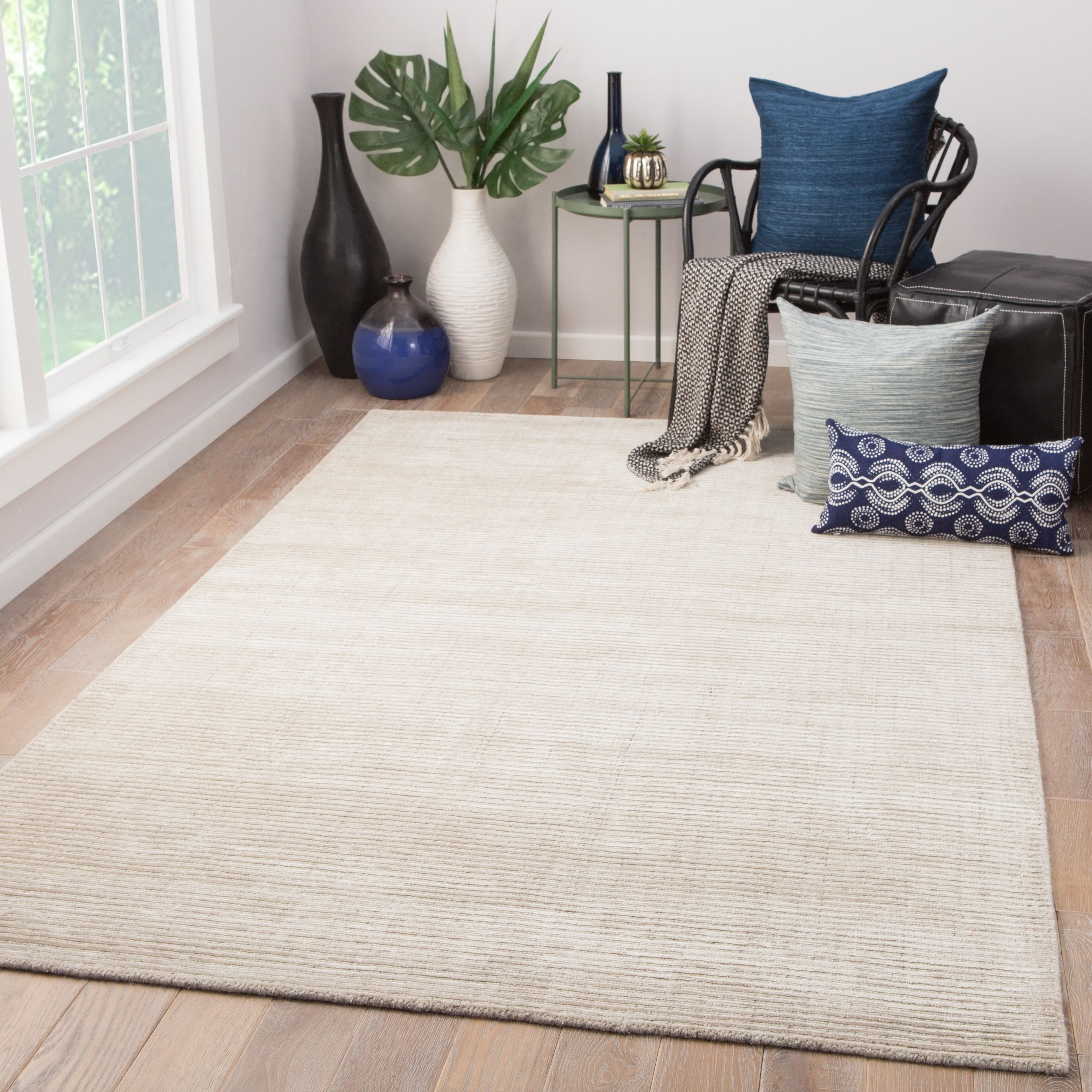 Phase Handmade Solid Ivory Light Gray Area Rug (9 X