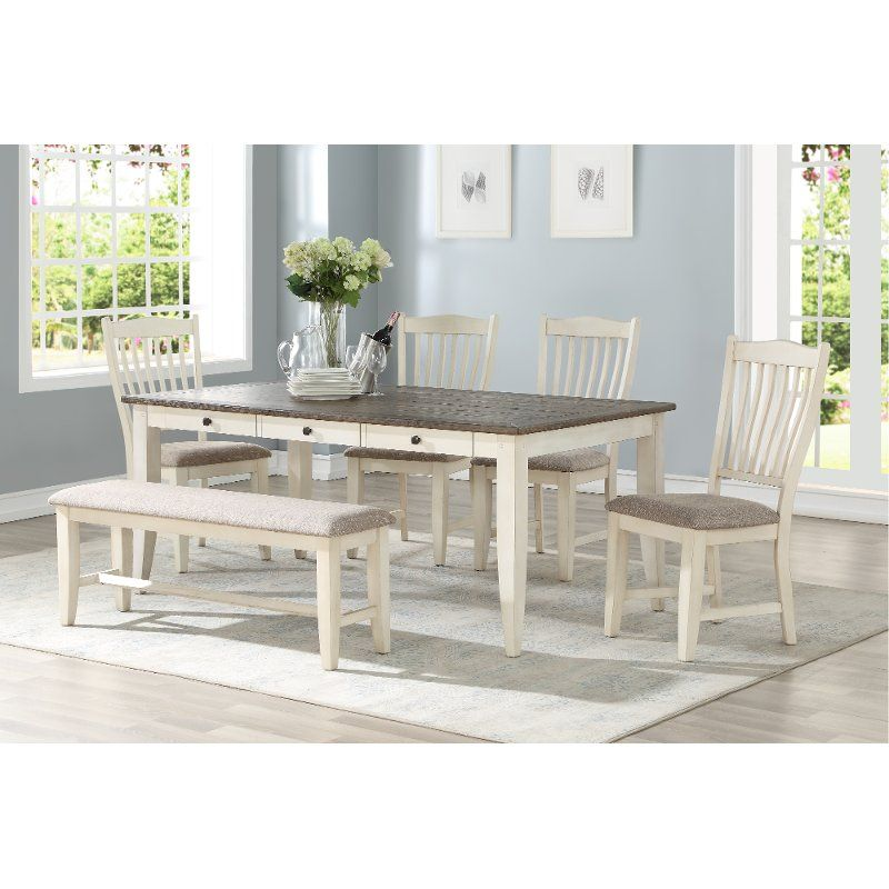 Instantly Freshen Up Your Dining Room With This Grace White And Gray 6 Piece Dining Set From Rc Will White Dining Table Set White Dining Table Grey Dining Room