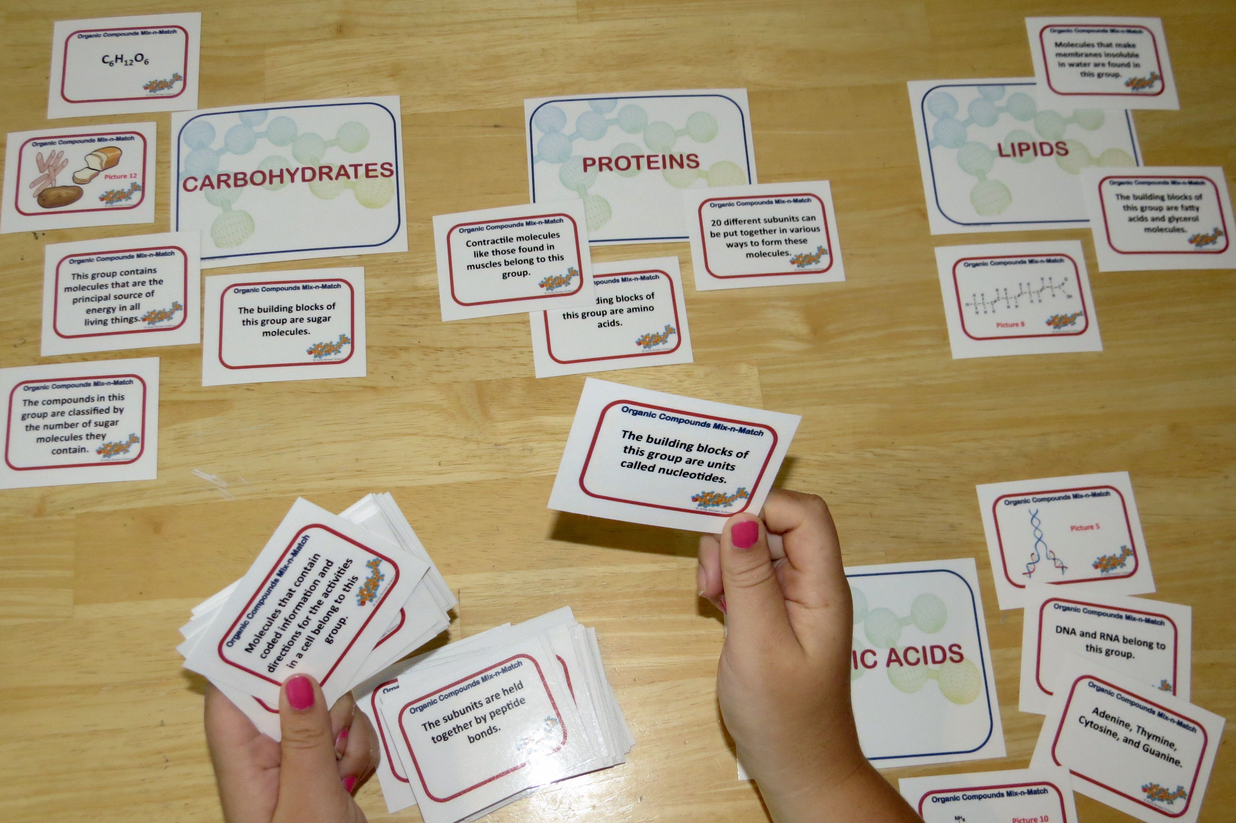 Organic Compounds Mix And Match Game