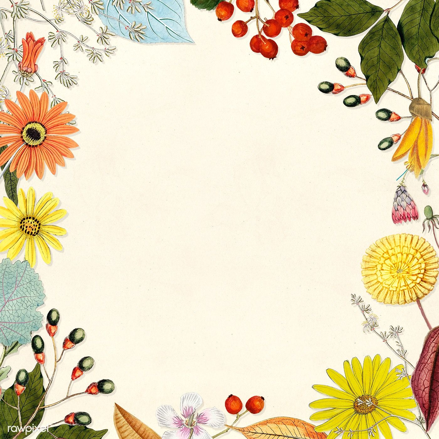 Download Premium Illustration Of Mixed Flower Decorated Blank