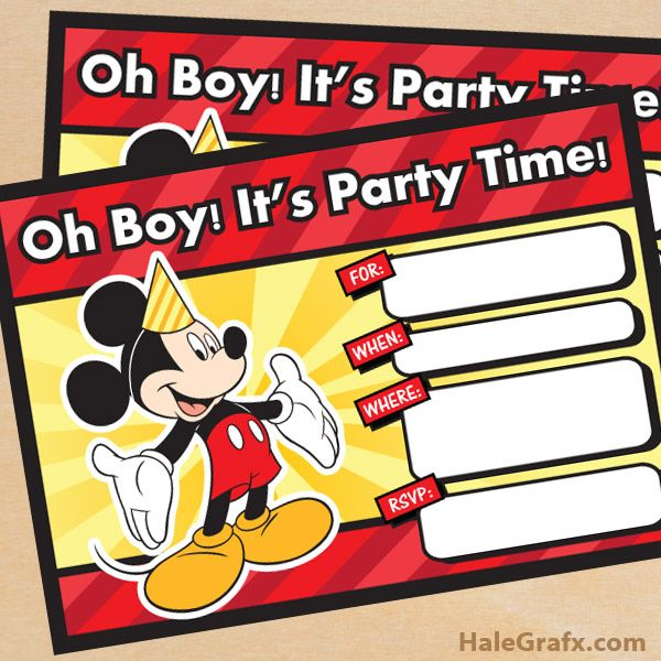 Beautiful FREE Printable Mickey Mouse Birthday Invitation