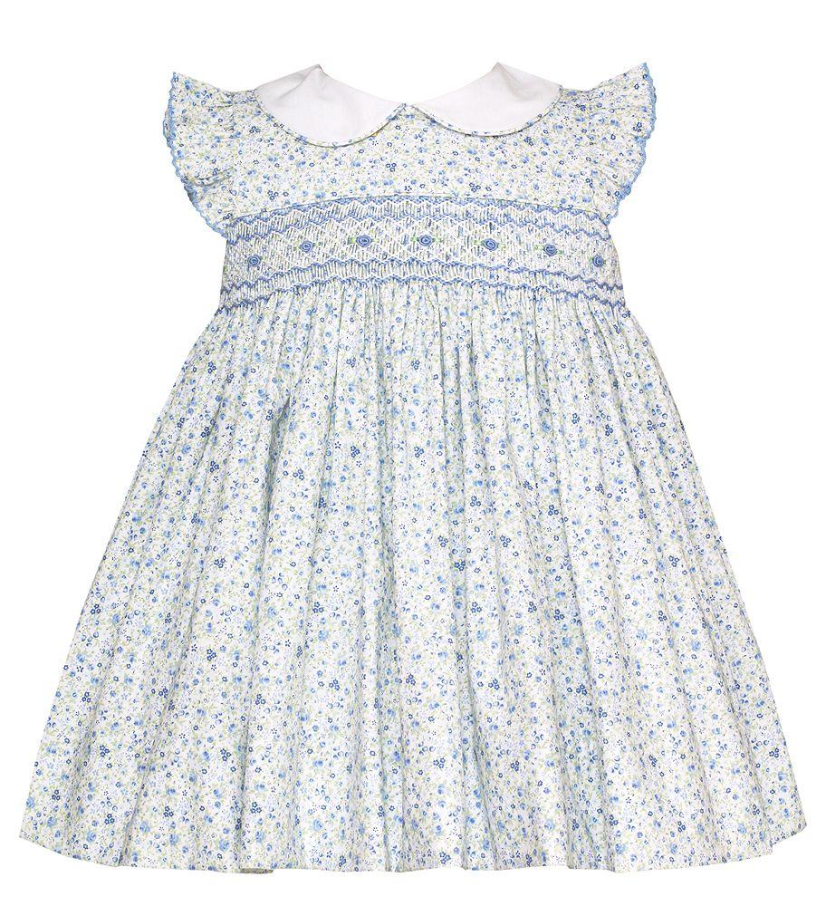 77d000c710b Petit Bebe Baby   Toddler Girls Blue Floral Smocked Dress with Collar