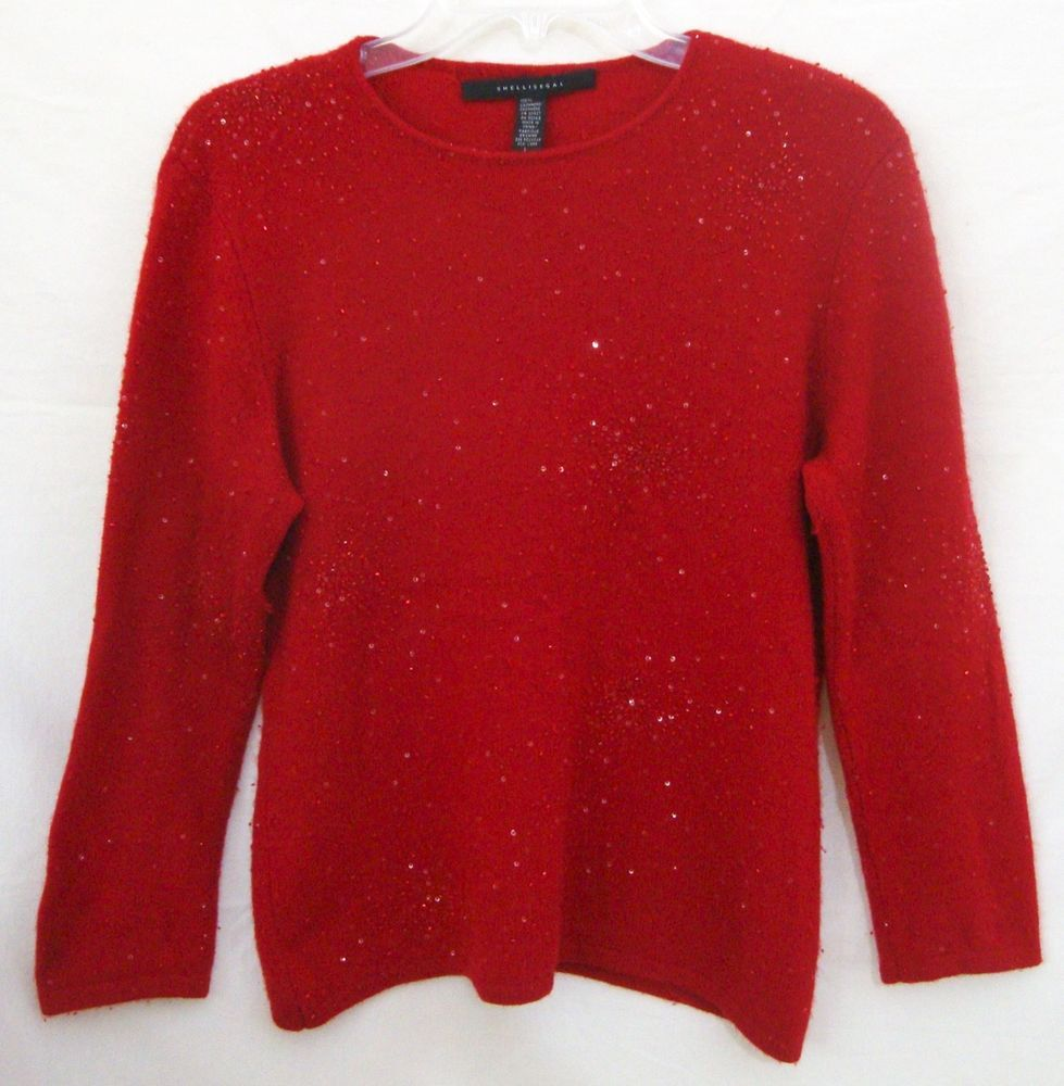 Shelli Segal 100% Cashmere Sweater Red Embellished Beaded Holiday ...