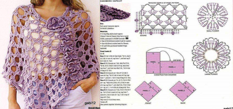 poncho+lila+calado+patron.jpg 960×450 píxeles | Crochet | Pinterest ...
