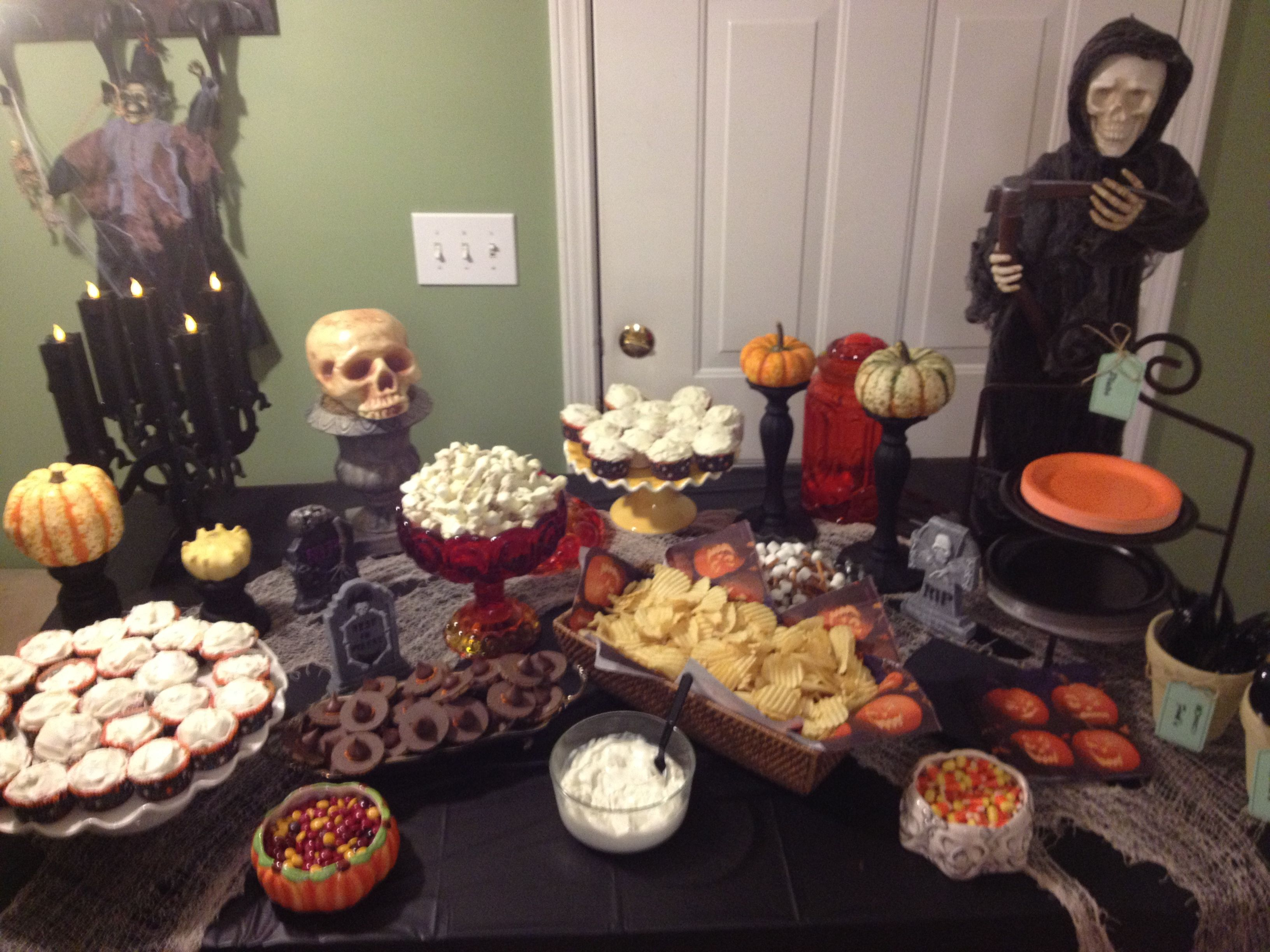 So Happy With How My Buffet Table Turned Out For The Family Pumpkin Carving Party Yesterday Thanks To Pinterest Pumpkin Carving Party Pumpkin Carving Pumpkin