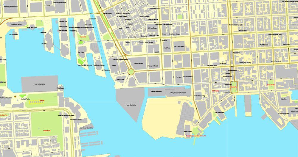 Baltimore Maryland US printable vector street City Plan map V3
