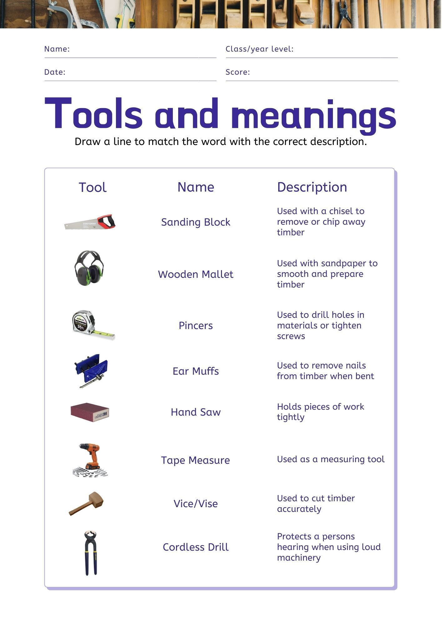 Woodworking Tools Worksheet In 2020 Woodworking Tools Stem Classroom Tools And Equipment