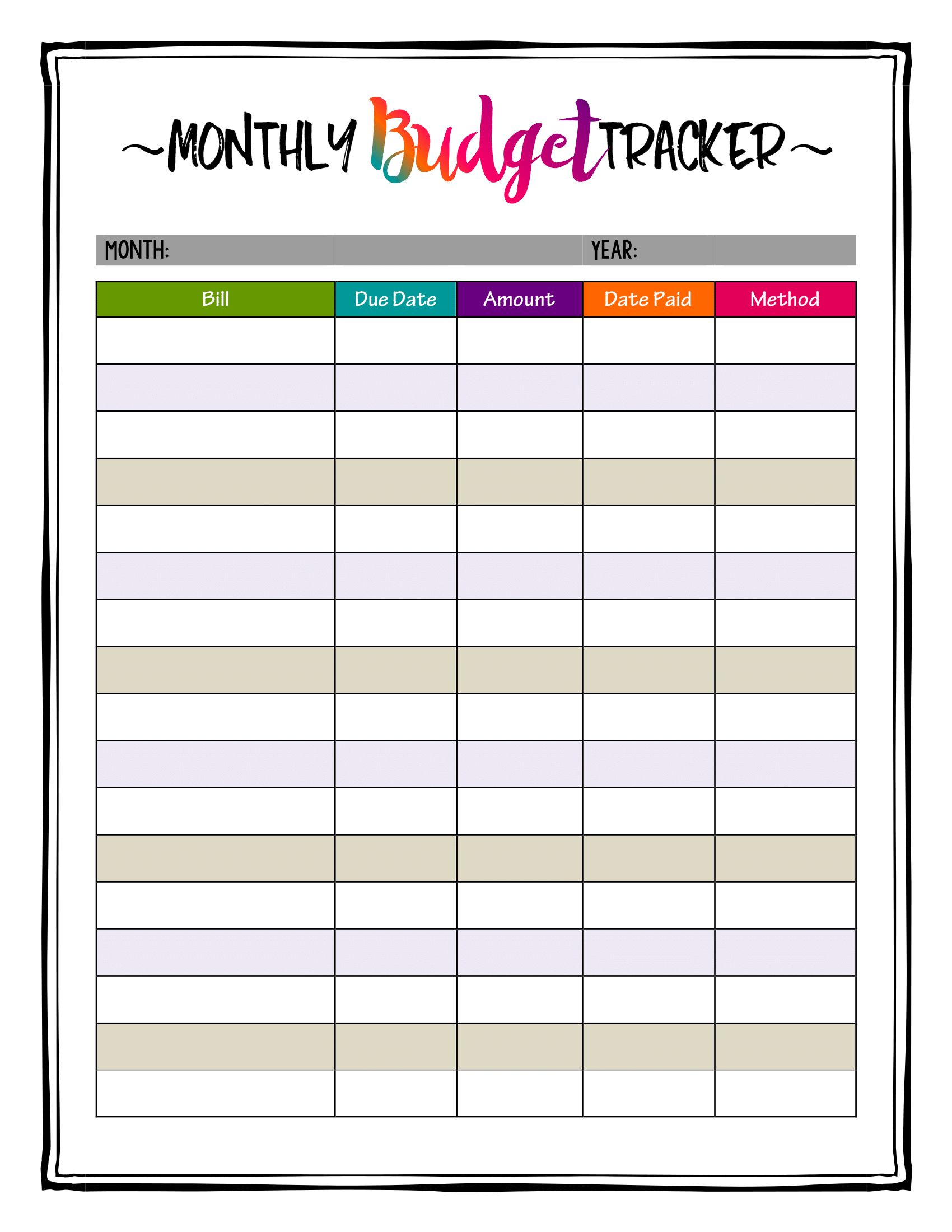 Caribbean Crazy Color Printable Monthly Budget Planner