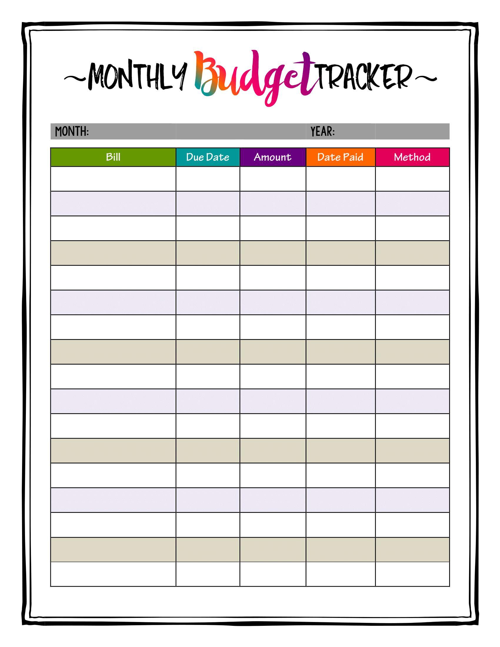 printable monthly bill organizer download