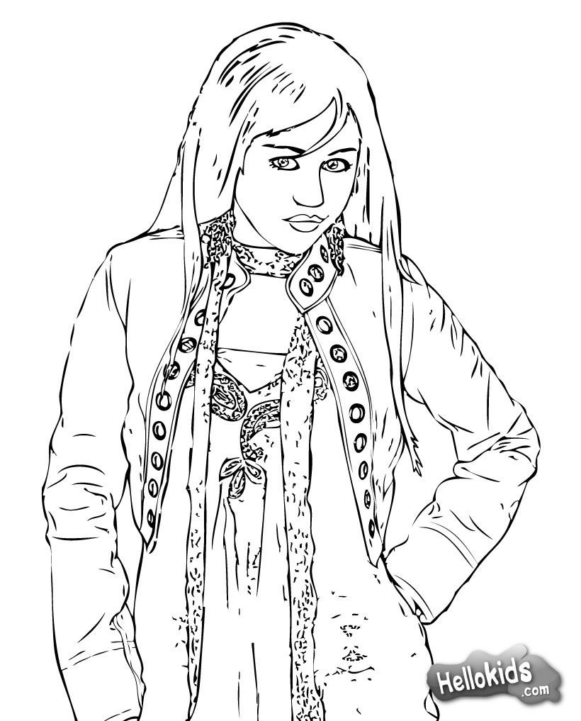 Miley Cyrus Hannah Montana Coloring Page More Famous People Sheets On Hellokids