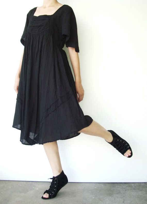 NO.9 Black Cotton Bell Sleeves Tonic Dress by JoozieCotton on Etsy, $40.00