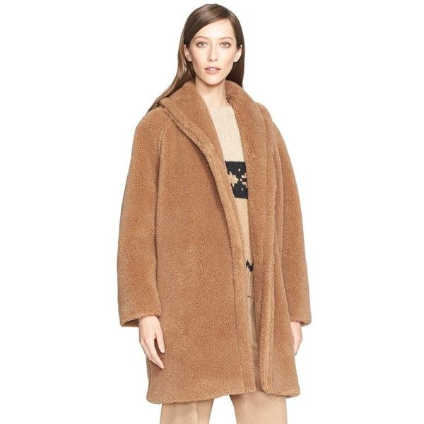 Max Mara 'Teddy Bear' Faux Fur Coat featuring polyvore, fashion, clothing, outerwear, coats, camel, oversized camel coat, fake fur coats, beige coat, shawl collar coat and wrap coat
